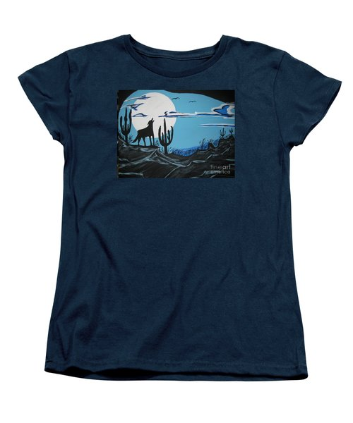 Women's T-Shirt (Standard Cut) featuring the painting Coyote by Jeffrey Koss