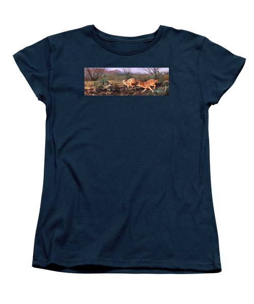 Women's T-Shirt (Standard Cut) featuring the painting Coyote Run by Rob Corsetti
