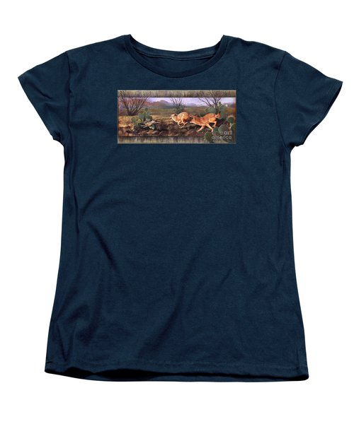 Women's T-Shirt (Standard Cut) featuring the painting Coyote Run With Boarder by Rob Corsetti