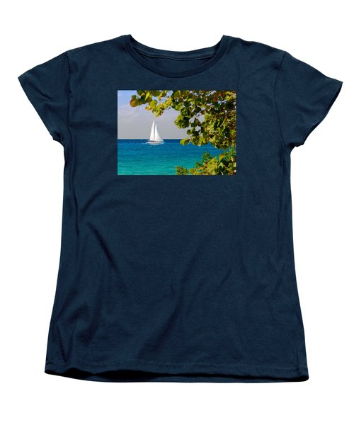 Women's T-Shirt (Standard Cut) featuring the photograph Cozumel Sailboat by Mitchell R Grosky