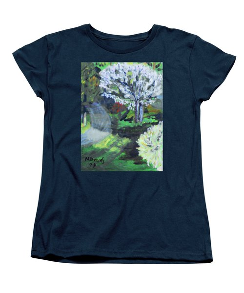 Women's T-Shirt (Standard Cut) featuring the painting Crab Apple Tree by Michael Daniels