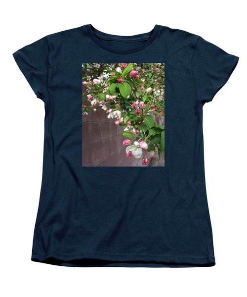 Crabapple Blossoms And Wall Women's T-Shirt (Standard Cut) by Donald S Hall
