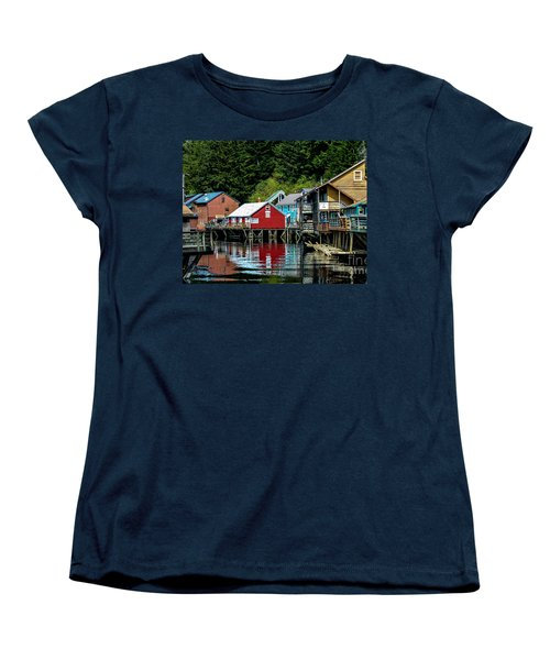 Creek Street - Ketchikan Alaska Women's T-Shirt (Standard Cut) by Debra Martz