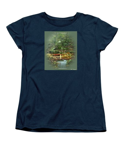 Women's T-Shirt (Standard Cut) featuring the mixed media A Bridge To Cross by Ray Tapajna