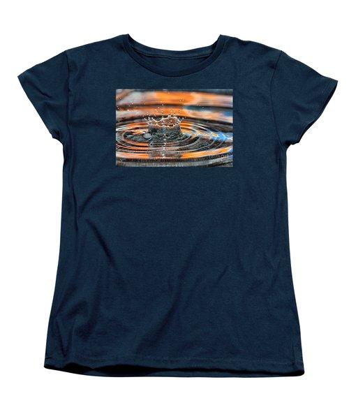 Women's T-Shirt (Standard Cut) featuring the photograph Crown Shaped Water Drop Macro by Teresa Zieba