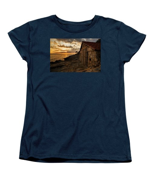 Cunski Beach At Sunrise Women's T-Shirt (Standard Cut) by Ian Middleton