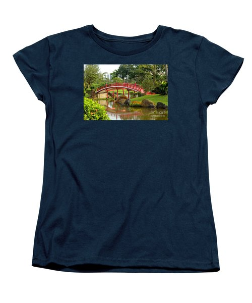 Women's T-Shirt (Standard Cut) featuring the photograph Curved Red Japanese Bridge And Stream Chinese Gardens Singapore by Imran Ahmed