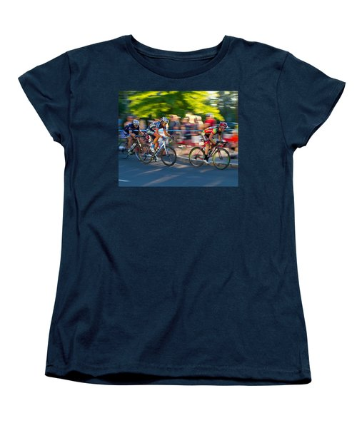 Women's T-Shirt (Standard Cut) featuring the photograph Cycling Pursuit by Kevin Desrosiers