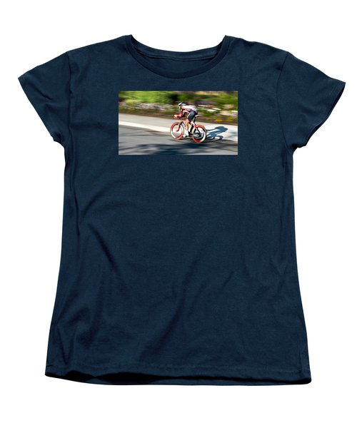 Women's T-Shirt (Standard Cut) featuring the photograph Cyclist Racing The Clock by Kevin Desrosiers