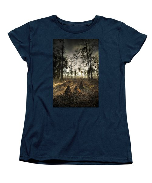 Cypress Stumps And Sunset Fire Women's T-Shirt (Standard Cut) by Bradley R Youngberg