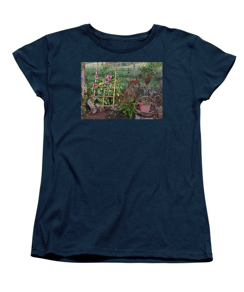 Dahlias And Chickens Women's T-Shirt (Standard Cut) by Denise Romano