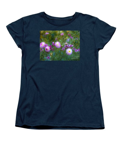 Women's T-Shirt (Standard Cut) featuring the photograph Dahlias And Cosmos  by Judy Via-Wolff