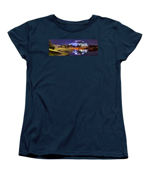 Dallas Cowboys Stadium At Night Att Arlington Texas Panoramic Photo Women's T-Shirt (Standard Cut) by Jon Holiday