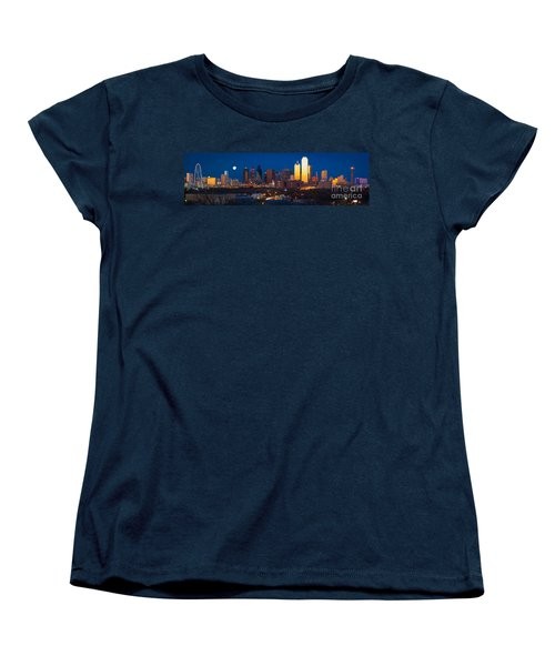 Dallas Skyline Panorama Women's T-Shirt (Standard Cut) by Inge Johnsson