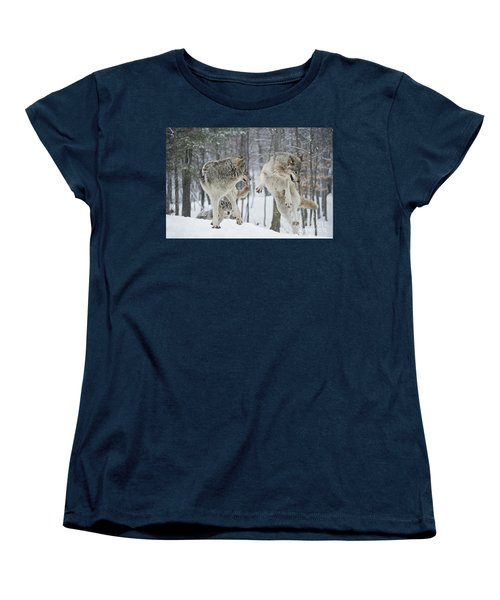 Women's T-Shirt (Standard Cut) featuring the photograph Dances With Wolves by Wolves Only