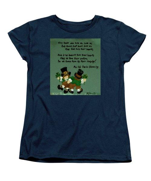 Women's T-Shirt (Standard Cut) featuring the painting Dancing Folk by Barbara McDevitt