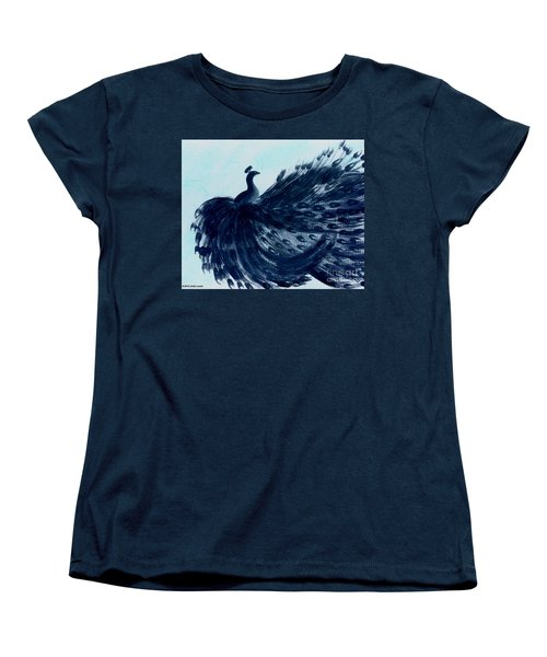 Dancing Peacock Aqua Women's T-Shirt (Standard Cut) by Anita Lewis