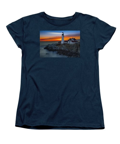 Dawn At Portalnd Head Light Women's T-Shirt (Standard Cut) by Susan Candelario