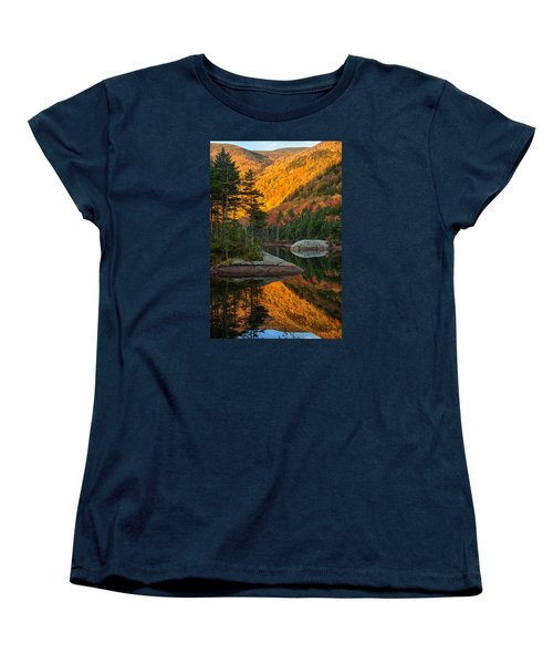 Women's T-Shirt (Standard Cut) featuring the photograph Dawns Foliage Reflection by Jeff Folger