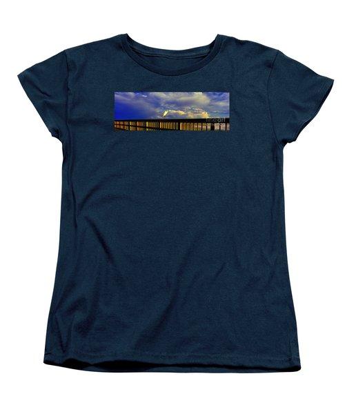 Women's T-Shirt (Standard Cut) featuring the photograph Daytona Beach Fl Bird Sun Glow Pier  by Tom Jelen