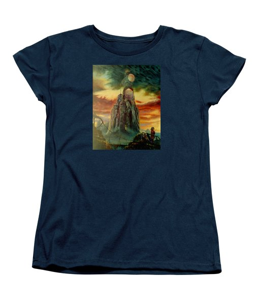 Women's T-Shirt (Standard Cut) featuring the painting Defenders Of Rocky Desert by Henryk Gorecki