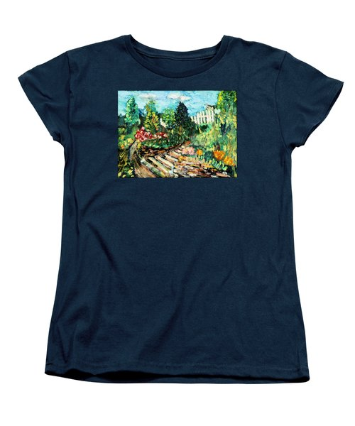 Women's T-Shirt (Standard Cut) featuring the painting Delphi Garden by Michael Daniels