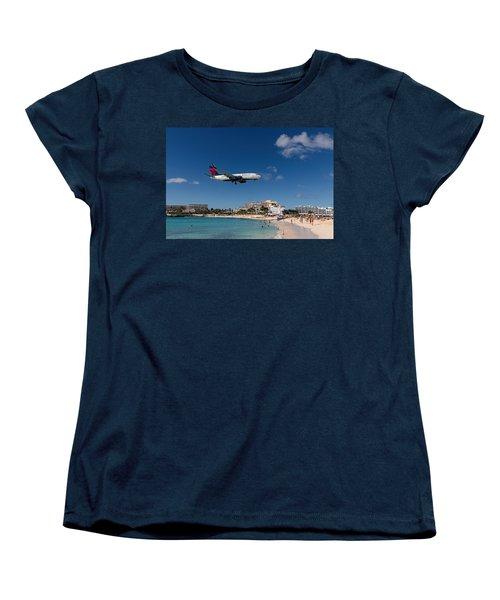 Delta 737 St. Maarten Landing Women's T-Shirt (Standard Cut) by David Gleeson