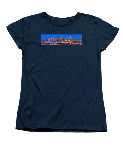 Women's T-Shirt (Standard Cut) featuring the photograph Denver Skyline At Dusk Evening Color Evening Extra Wide Panorama Broncos by Jon Holiday