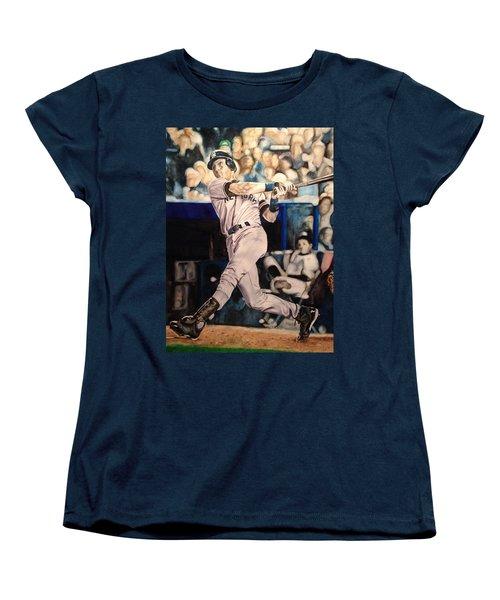 Women's T-Shirt (Standard Cut) featuring the painting Derek Jeter by Lance Gebhardt
