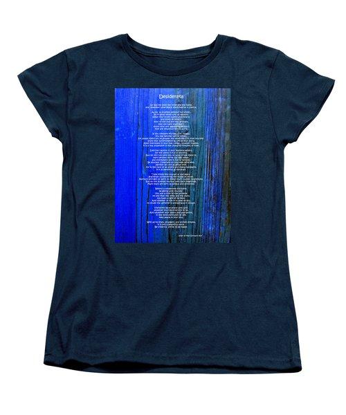 Desiderata On Blue Women's T-Shirt (Standard Cut) by Leena Pekkalainen