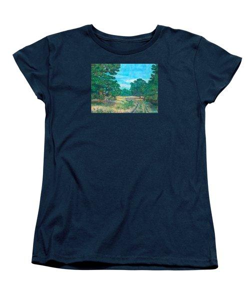Women's T-Shirt (Standard Cut) featuring the painting Dirt Road Near Rock Castle Gorge by Kendall Kessler