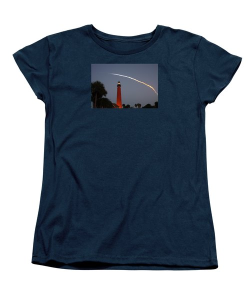 Discovery Booster Separation Over Ponce Inlet Lighthouse Women's T-Shirt (Standard Cut) by Paul Rebmann