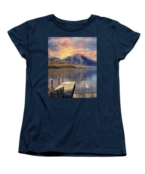 Women's T-Shirt (Standard Cut) featuring the photograph Dock On Lake Mcdonald by Marty Koch