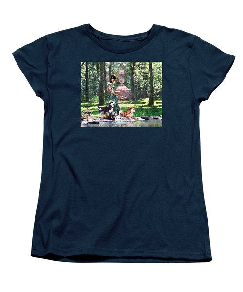 Dogs Lay At Her Feet Women's T-Shirt (Standard Cut) by Steve Karol