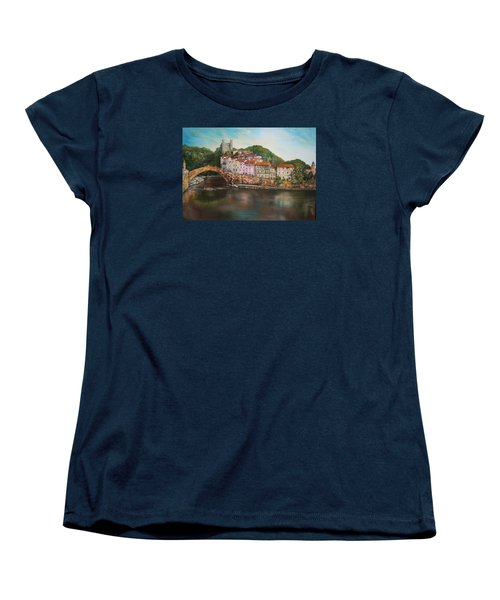 Women's T-Shirt (Standard Cut) featuring the painting Dolceacqua Italy by Jean Walker
