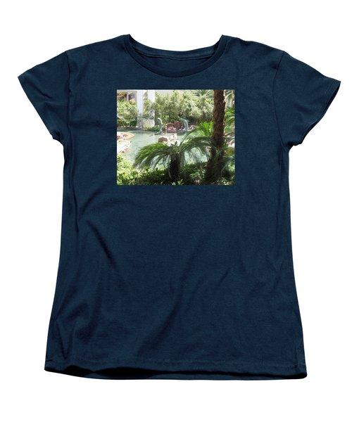 Women's T-Shirt (Standard Cut) featuring the photograph Dolphin Pond And Garden Green by Navin Joshi