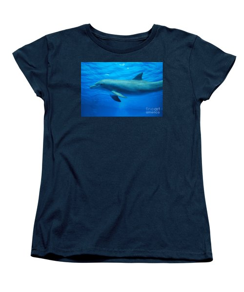 Dolphin Underwater Women's T-Shirt (Standard Cut) by DejaVu Designs