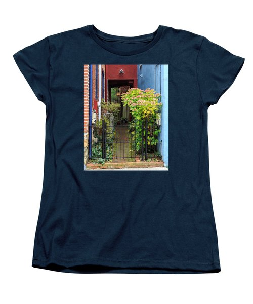 Women's T-Shirt (Standard Cut) featuring the photograph Downtown Garden Path by Jennifer Casey