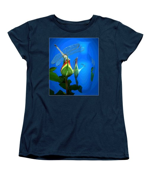 Women's T-Shirt (Standard Cut) featuring the photograph Dragonfly And Bud On Blue by Joyce Dickens