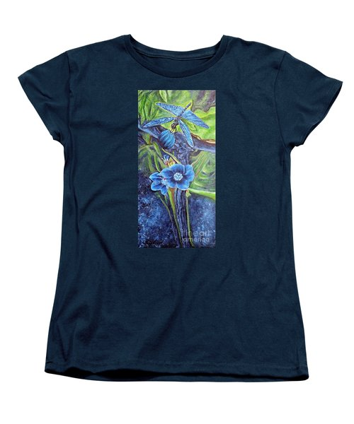 Women's T-Shirt (Standard Cut) featuring the painting Dragonfly Hunt For Food In The Flowerhead by Kimberlee Baxter