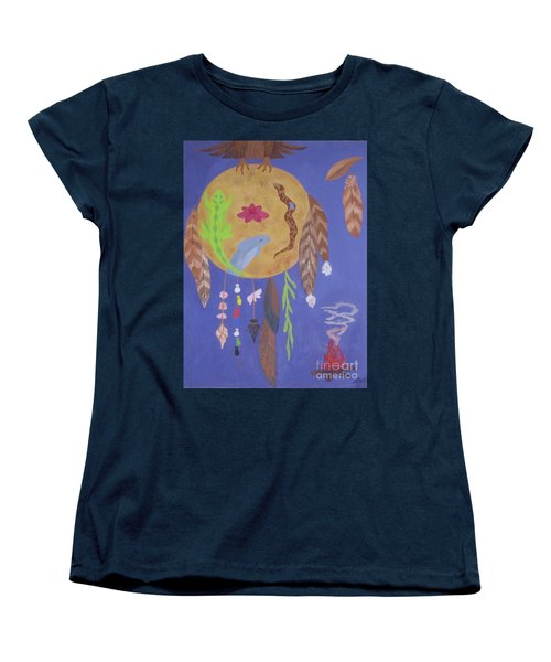 Women's T-Shirt (Standard Cut) featuring the painting Dream Spirit Shield by Ellen Levinson