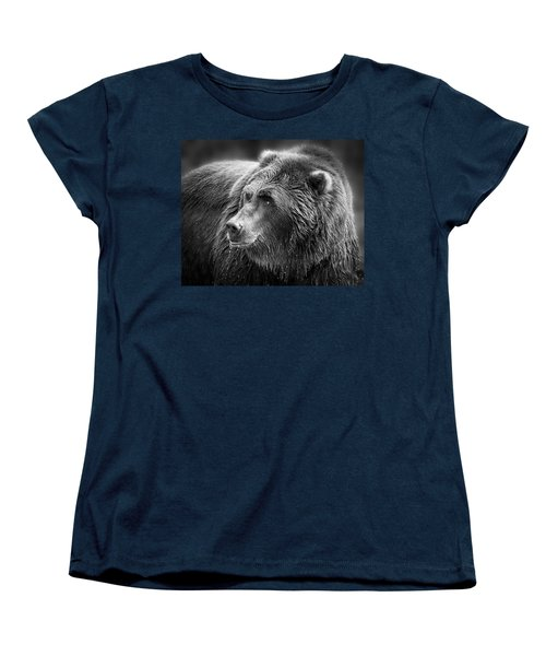 Drinking Grizzly Bear Black And White Women's T-Shirt (Standard Cut) by Steve McKinzie