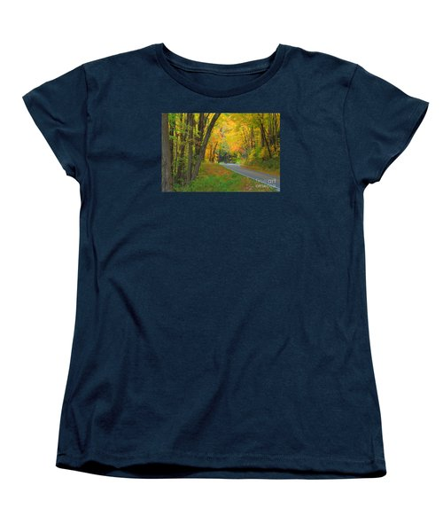 Women's T-Shirt (Standard Cut) featuring the photograph Driving Into Fall by Geraldine DeBoer