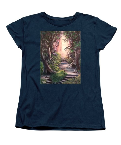 Women's T-Shirt (Standard Cut) featuring the painting Druid's Walk by Megan Walsh