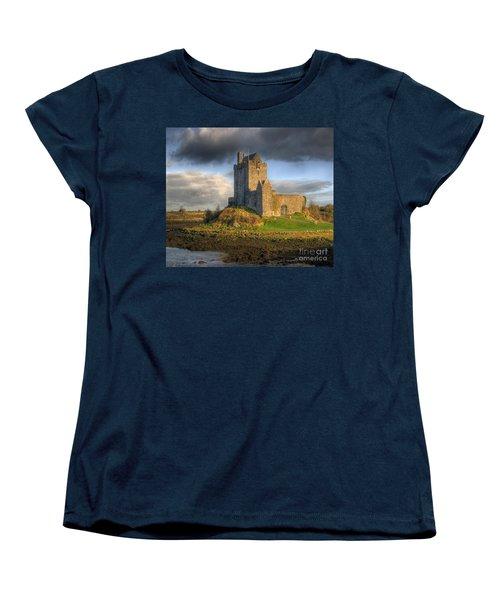 Dunguaire Castle With Dramatic Sky Kinvara Galway Ireland Women's T-Shirt (Standard Cut) by Juli Scalzi