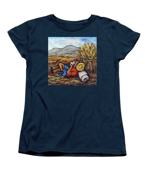 Women's T-Shirt (Standard Cut) featuring the painting During The Break by Xueling Zou