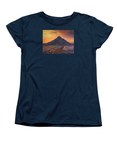 Women's T-Shirt (Standard Cut) featuring the painting Dusk Over St Michaels Mount Cornwall by Jean Walker