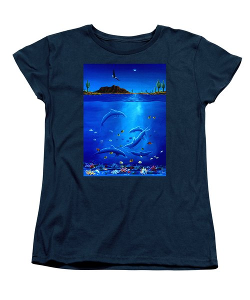 Eagle Over Dolphins Women's T-Shirt (Standard Cut) by Lance Headlee