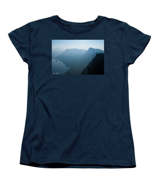 Women's T-Shirt (Standard Cut) featuring the photograph Early Morning Fog Over Crater Lake by Jeff Goulden