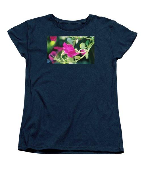 Women's T-Shirt (Standard Cut) featuring the photograph Early Morning Petunias by Alan Lakin